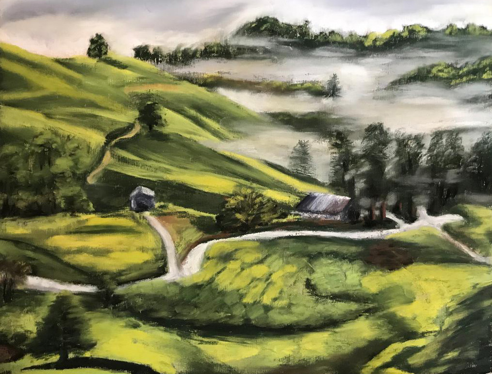 Travel inspired Pastel Artwork of Tea Plantations in Cameron Highlands, Malaysia