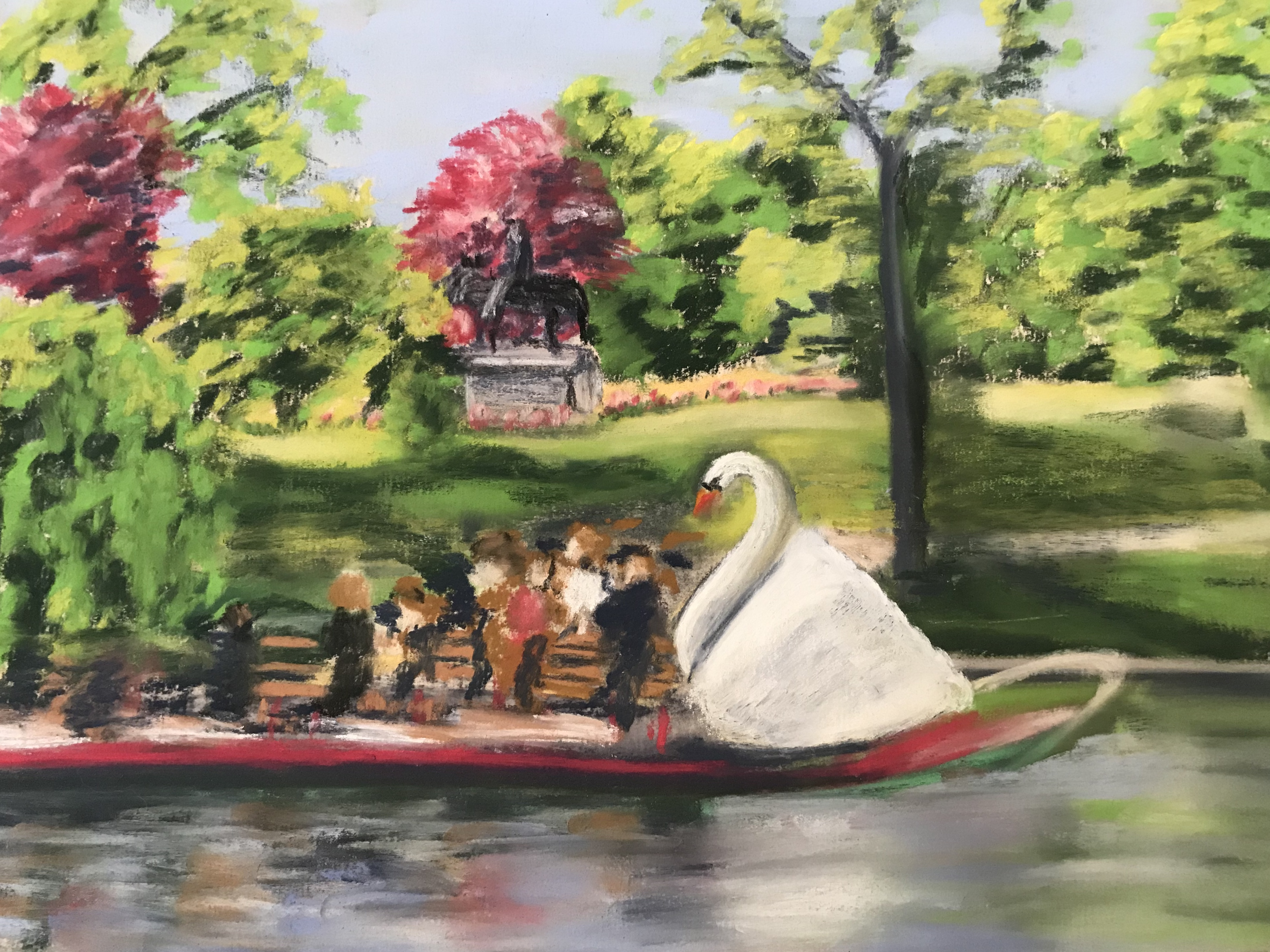 Pastel painting of Swan boats, inspired by travels to Amsterdam