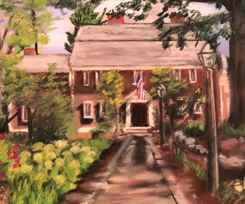 Pastel Artwork of historic Wayside Inn, Sudbury, Massachusettes