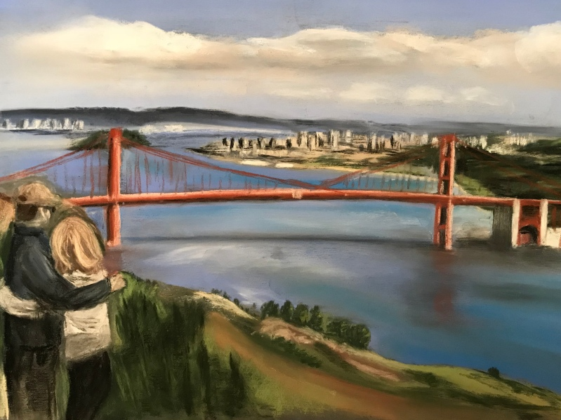 Commissioned pastel art, gift for engaged couple. Couple overlooking Golden Gate Bridge, San Francisco