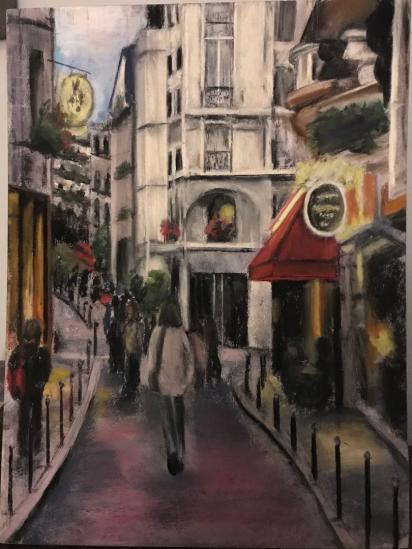 Pastel art of a Parisian side street, by Susan Marino