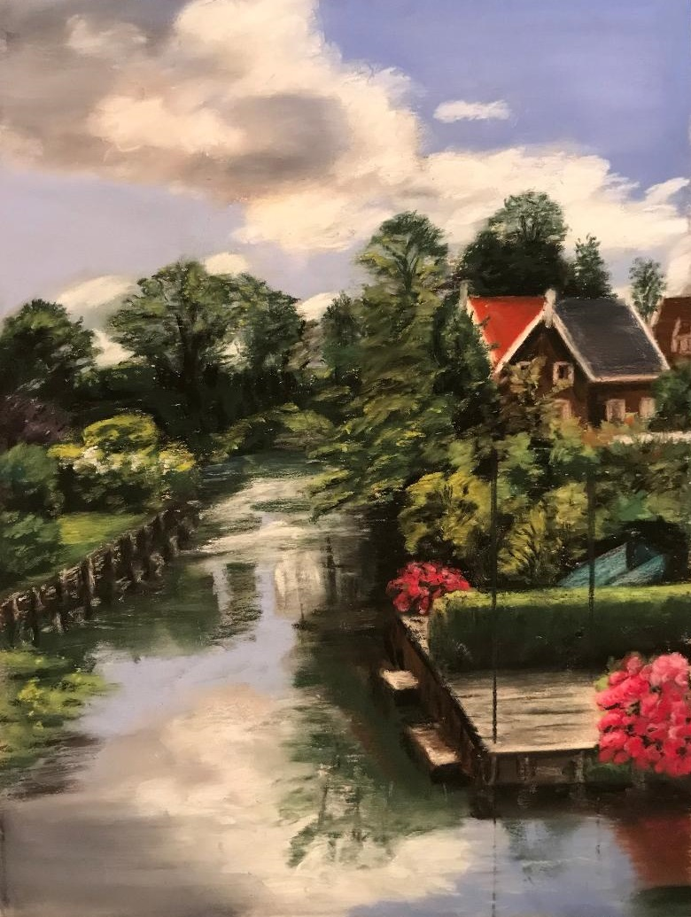 Pastel artwork of a canal in Edam, Netherlands, by Susan Marino