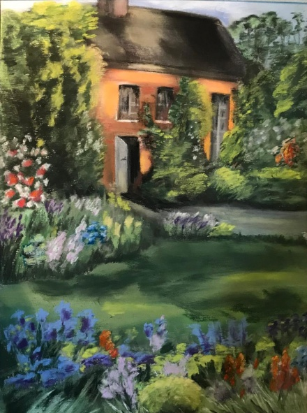 English Garden and cottage, painted with pastels. By Susan Marino Art