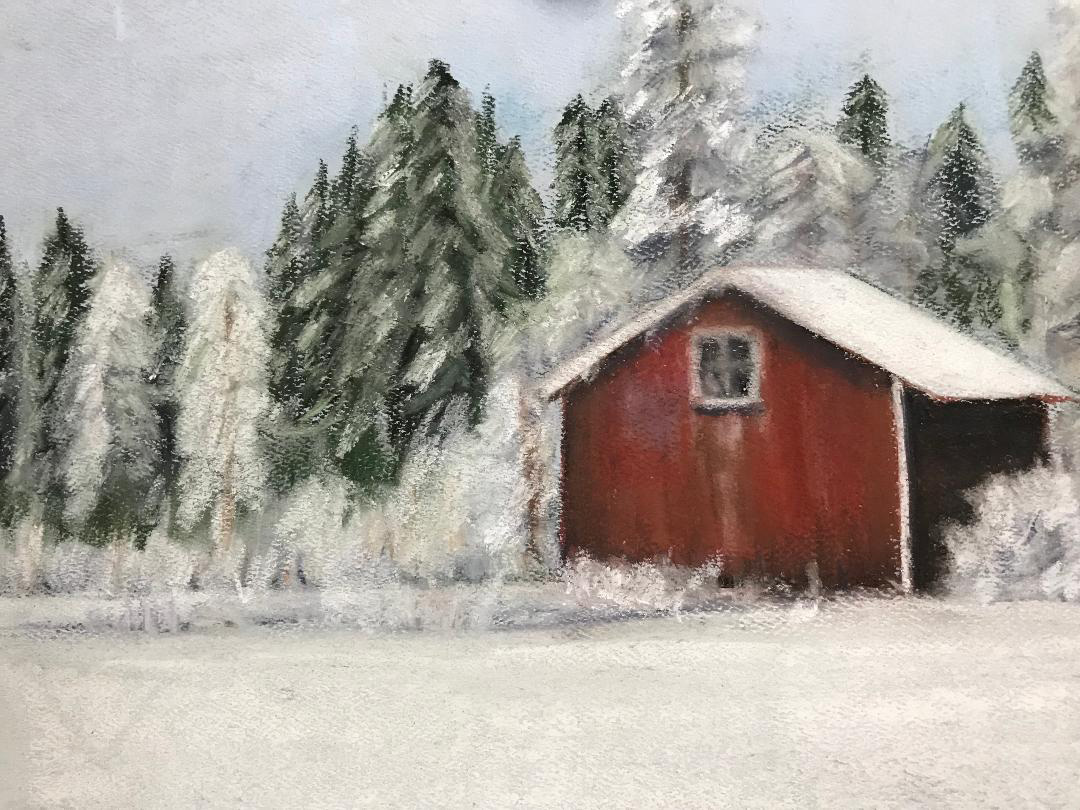 Red barn in snow, pastel painting by Susan Marino