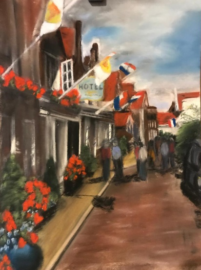 Streets in Netherlands, pastel artwork by Susan Marino.