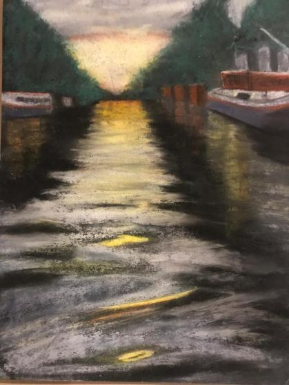 Pastel artwork of the Canals in Amsterdam, by Susan Marino Art. Pastel artwork is available for sale