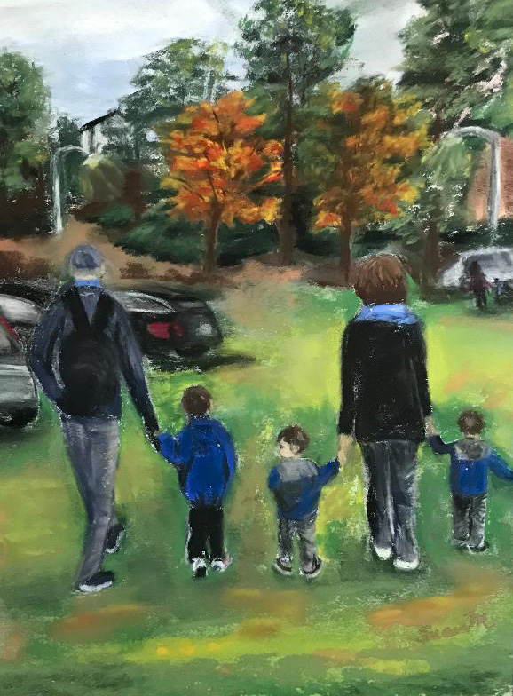 Pastel artwork of grandparents walking with their three grandsons
